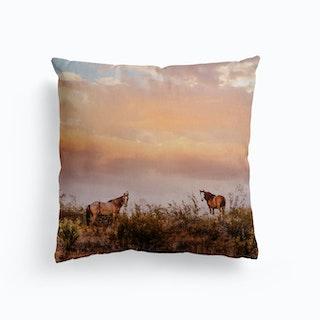 Arizona Wild Horses At Sunset Canvas Cushion