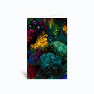 Dark Vintage Flowers Garden Greetings Card