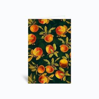 Night Vintage Apple Fruit Garden Greetings Card