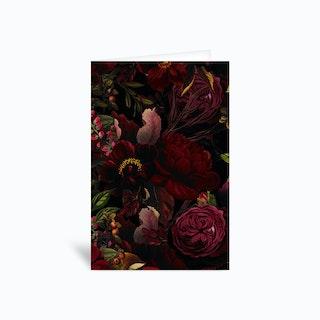 Dark Vintage Rose Garden Greetings Card