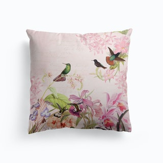 Hummingbirds And Tropical Flowers Cushion Cushion
