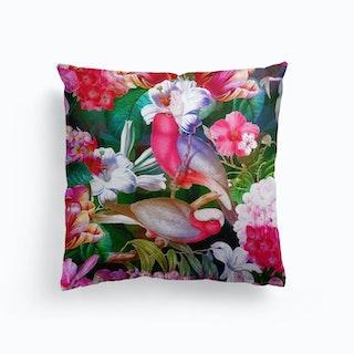Tropical Luminous Pink Vintage Parrot Jungle Garden Cushion