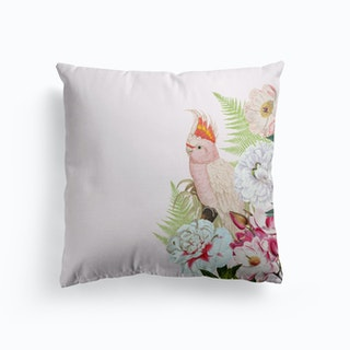 Pink Vintage Cockatoo Floral Cushion