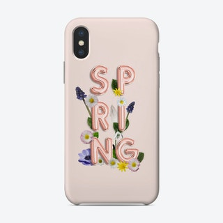 Spring   Copper Balloon Typography And Flowers Phone Case
