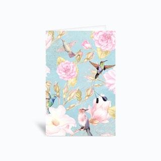 Vintage Watercolor Hummingbirds And Flowers Greetings Card