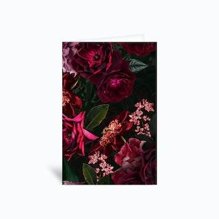 Vintage Midnight Summer Botanical Roses Garden Greetings Card
