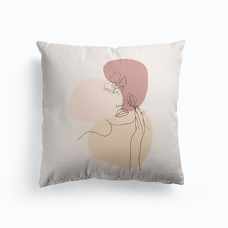 Minimal Line Art Beautiful Woman With Flower Cushion