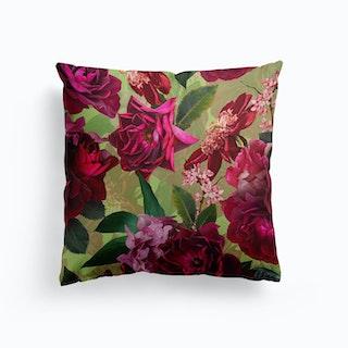 Vintage Summer Botanical Roses Garden Cushion