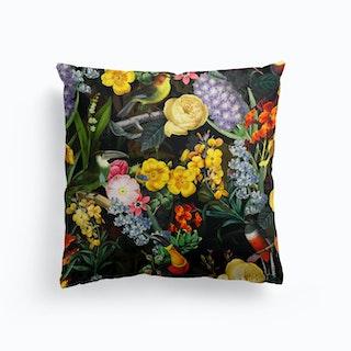 Night Vintage Spring Flower Bird Garden Cushion