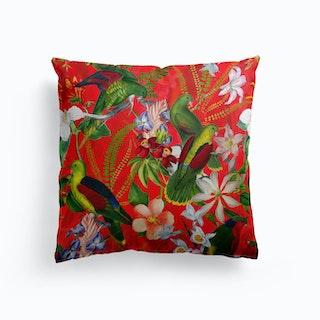Tropical Vintage Birds Jungle Garden Cushion