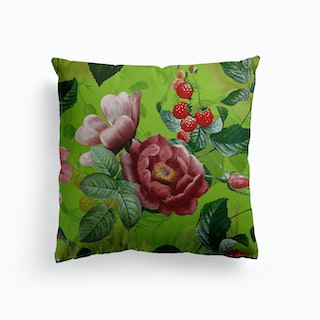 Green Vintage Roses And Raspberries Fruit Garden Canvas Cushion