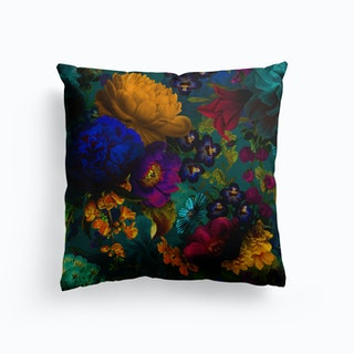 Dark Vintage Flowers Garden Cushion