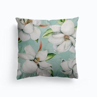 White Magnelia Blossoms Canvas Cushion