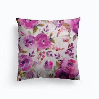 Lush Purple Watercolor Roses Canvas Cushion