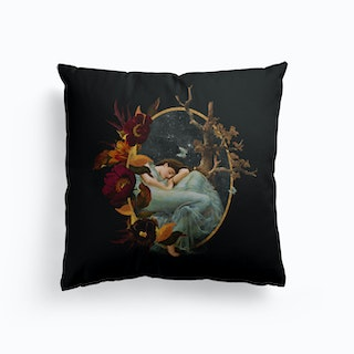 Vintage Girl With Flowers And Butterflies Canvas Cushion