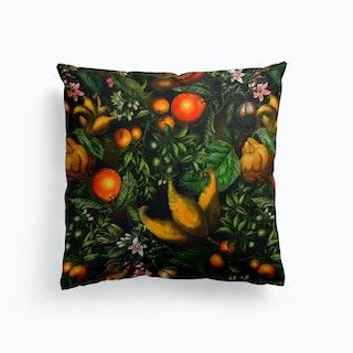 Dark Vintage Citrus Fruits Garden Cushion