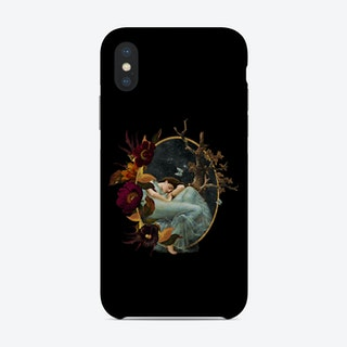 Vintage Girl With Flowers And Butterflies Phone Case