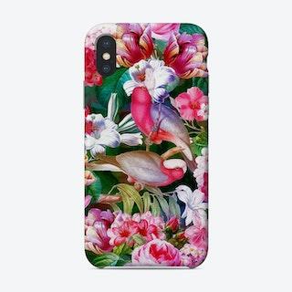 Tropical Luminous Pink Vintage Parrot Jungle Garden Phone Case