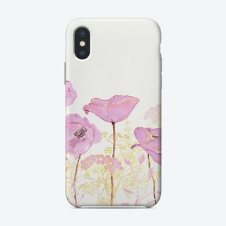 Pink Watercolor Poppy Meadow Phone Case