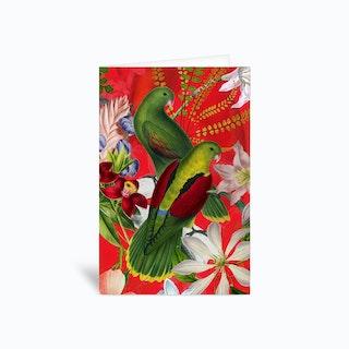 Tropical Vintage Birds Jungle Garden Greetings Card