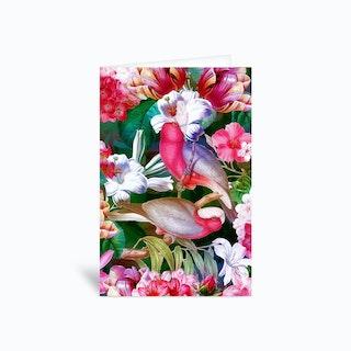 Tropical Luminous Pink Vintage Parrot Jungle Garden Greetings Card