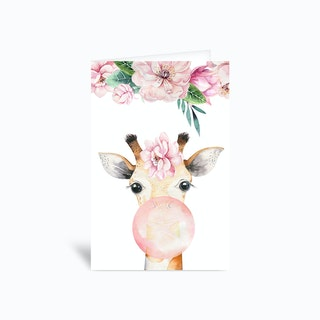 Floral Giraffe Blow Gum Greetings Card