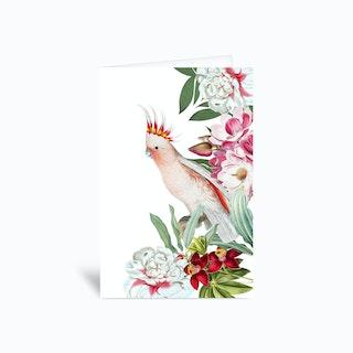 Cockatoo Vintage Floral Greetings Card