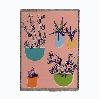Plants On The Terrace Woven Throw