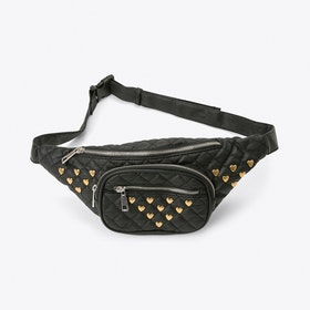 Quilted Bumbag with Heart Studs