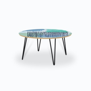 Abstract Striped Geo Green Coffee Table