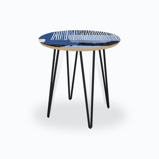 Abstract Striped Geo Blue Side Table
