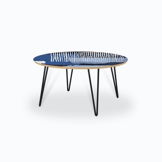 Abstract Striped Geo Blue Coffee Table