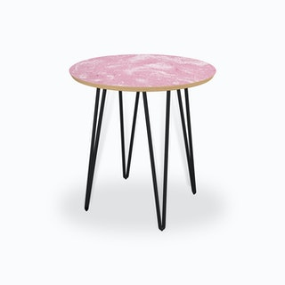 Abstract Dripping Painting Pink Side Table