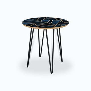 Navy Stone Side Table