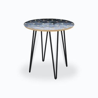 Blue Hexagons And Diamonds Side Table