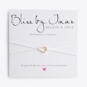 Open Heart Bracelet in White