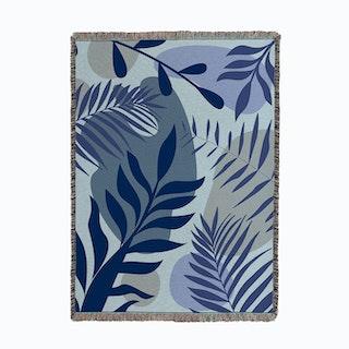 Blue Foliage Woven Throw