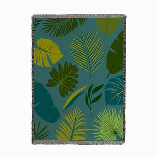 Tropical Jungle Leaves Woven Throw
