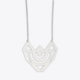 Graphic Medal Necklace in Silver