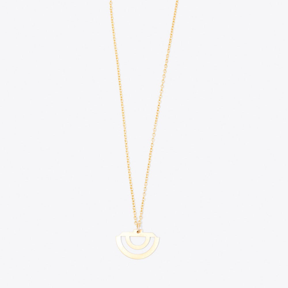 Rainbow Pendant Necklace in Gold