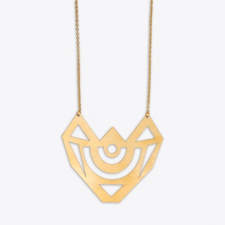 Graphic Medal Necklace in Gold