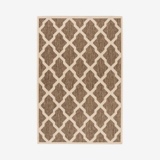Linden Indoor / Outdoor Woven Area Rug - Beige / Cream - Scalloped Lattice