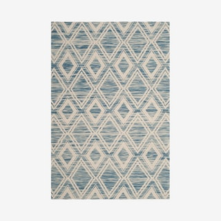 Marbella Hand Loomed Area Rug - Dark Blue / Ivory