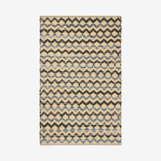 Montauk Hand Woven Area Rug - Gold / Blue / Black - Cotton
