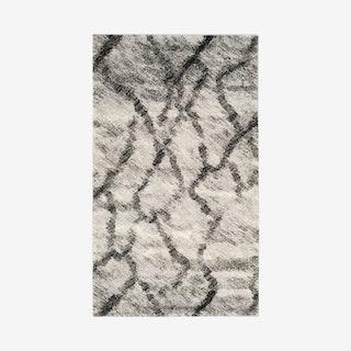 Retro Woven Area Rug - Light Grey / Black