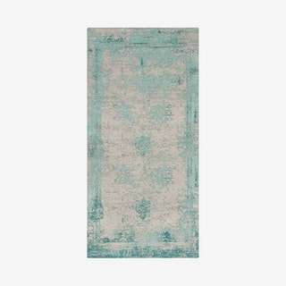 Classic Vintage Woven Area Rug - Turquoise - Cotton