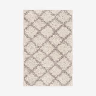 Adirondack Woven Area Rug - Ivory White / Silver