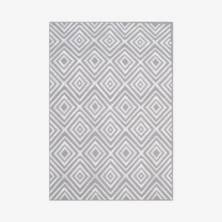 Kilim Hand Woven Flatweave With Embroidery Area Rug - Grey