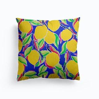 Cobalt Lemon Canvas Cushion