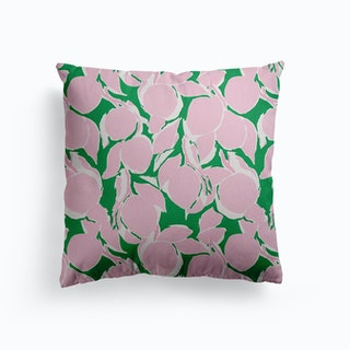 Pink And Green Citrus Canvas Cushion